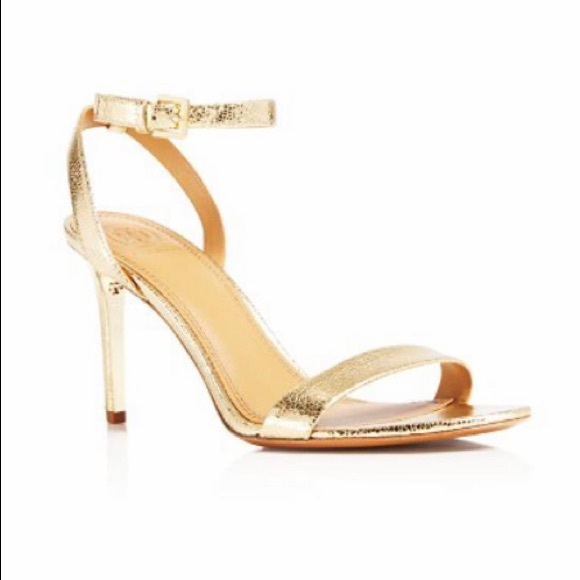 Tory Burch Shoes - Tory Burch Gold Elana Open Toe High Heel Sandals